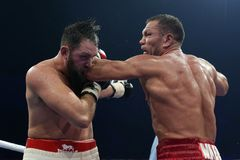 Boxer Kubrat Pulev and Hughie Fury stock photography