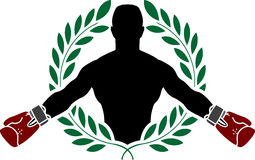 Boxer and laurel wreath Stock Photo