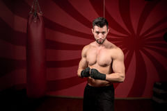 Boxer and male streetfighter preparing for match, training and posing without gloves Stock Photography