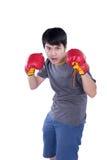Boxer man during boxing exercise Stock Image