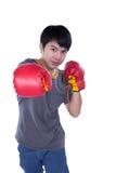 Boxer man during boxing exercise Royalty Free Stock Photo