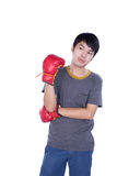 Boxer man during boxing exercise Stock Photos