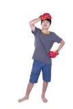 Boxer man during boxing exercise Stock Photo
