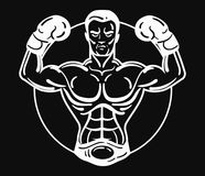 A boxer man in boxing gloves. Vector illustration of an athlete with a sporty physique. Winner. Black and white athlete Stock Photography