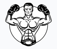 A boxer man in boxing gloves. Vector illustration of an athlete with a sporty physique. Winner. Black and white athlete Stock Photo