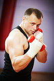 Boxer man at boxing training with dumbbells Stock Image