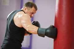 Boxer man at boxing training with heavy bag Royalty Free Stock Photo