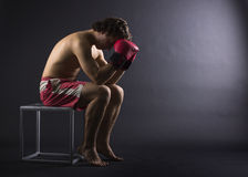 Boxer man concentrating Stock Image