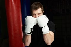 Boxer man in defense pose. In white gloves. Protection theme stock images