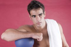 Boxer man after the exercise with punch Royalty Free Stock Photo