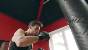 Boxer man kicking combat bag in gym low angle view. Fighter man training punches boxing bag in sport club. Athletic guy practicing boxing kick in fitness gym stock video