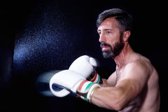 A boxer men throws a fist. Fist in the sack. Royalty Free Stock Images