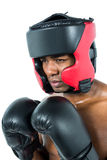 Boxer performing boxing stance Royalty Free Stock Images