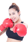 Boxer - Portrait of fitness woman boxing wearing boxing red gloves Stock Photo