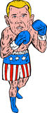 Boxer Pose USA Flag Etching. Etching engraving handmade style illustration of a boxer fighter pose posing wearing shorts with usa american stars and stripes Royalty Free Stock Photo