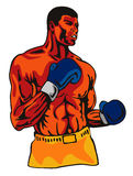Boxer posing. Vector art of a prize fighter stock illustration
