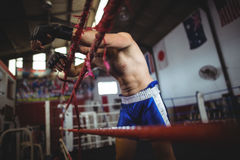 Boxer posing after defeat Stock Photo
