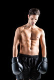 Boxer posing after failure Royalty Free Stock Photos
