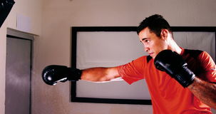 Boxer practicing boxing with punching bag. In fitness studio stock video