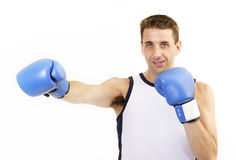 Boxer punch. Boxer throwing a punch royalty free stock photography