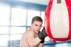 Boxer with punch bag Royalty Free Stock Images