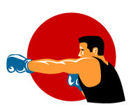 Boxer punching. Vector art on the sport of boxing Stock Images