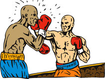 Boxer punching a knockout. Vector art on the sport of boxing isolated on white background Stock Photo