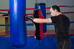Boxer punching a sand bag with back hand Stock Images