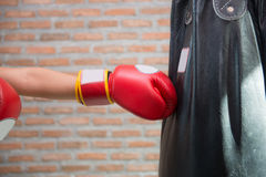 Boxer is punching a sandbag Stock Photography