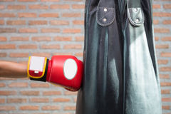 Boxer is punching a sandbag Royalty Free Stock Images