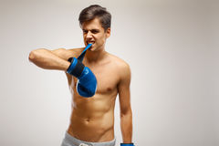 Boxer ready to fight. Boxing, power and strength, champion Royalty Free Stock Images
