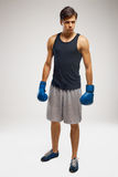 Boxer ready to fight. Boxing, power and strength, champion Royalty Free Stock Image