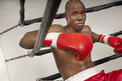 Boxer In Red Boxing Gloves Resting In Ring Royalty Free Stock Images