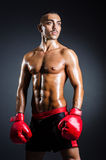 Boxer with red gloves in dark Stock Photography
