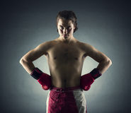 Boxer with red gloves Stock Photography