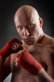Boxer with red handwraps Royalty Free Stock Photos