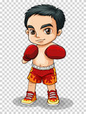 Boxer in red shorts and gloves Royalty Free Stock Photo