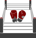 Boxer ring with gloves Royalty Free Stock Photography