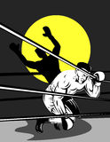 Boxer on the ropes Royalty Free Stock Images