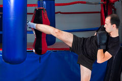 Boxer roundhouse kicking a sand bag Royalty Free Stock Image