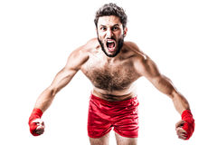 Boxer's rage. A very muscular young boxer with red trunks and hand wraps isolated over white background Stock Photography