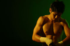 Boxer Series. Photo Series of a boxer preparing for a fight. Plenty of room for text Royalty Free Stock Image