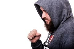 Boxer with a serious face beard Royalty Free Stock Photography