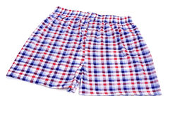 Boxer shorts. Checkered boxer shorts on a white background Royalty Free Stock Images