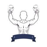 Boxer silhouette avatar icon. Illustration design Royalty Free Stock Photos