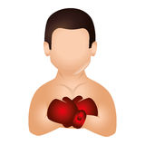 Boxer silhouette avatar icon. Illustration design Royalty Free Stock Photo