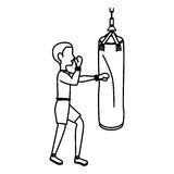 Boxer silhouette avatar with punch bag icon Stock Images
