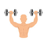 Boxer silhouette avatar with weight lifting icon Royalty Free Stock Photos