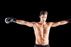 Boxer standing with arms outstretched Stock Image