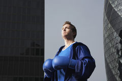 Boxer Standing Between Downtown Buildings Royalty Free Stock Photography
